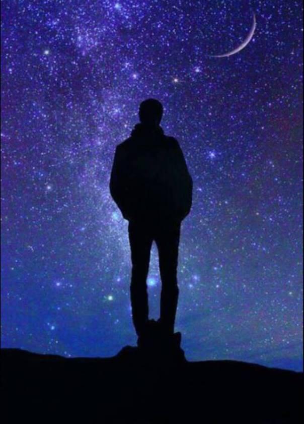 man in the night sky